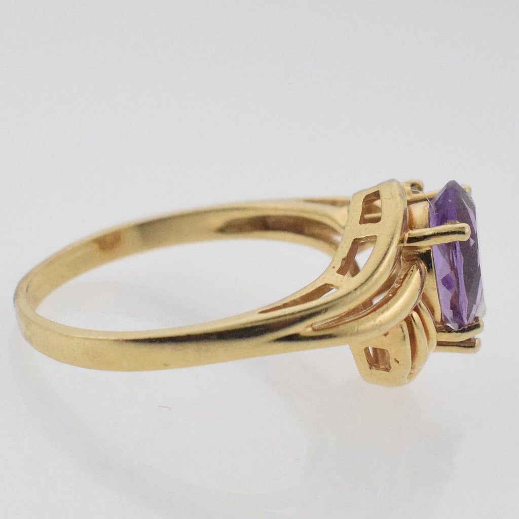 14k YG Swirl Amethyst & Diamond Ring Size 7