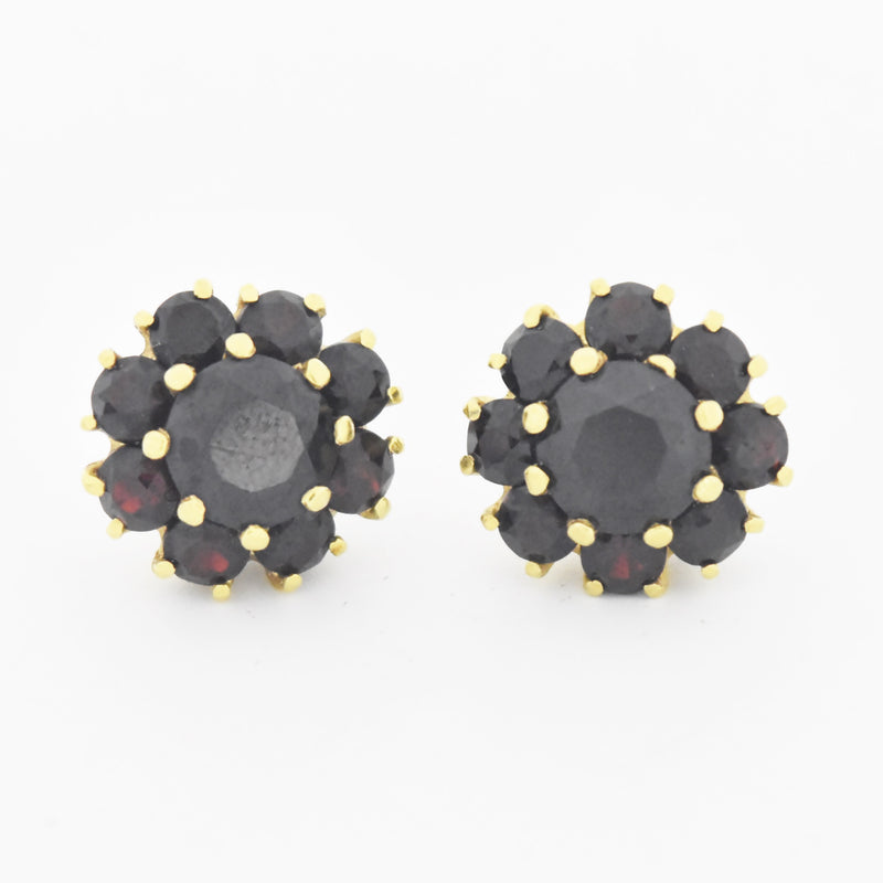14k Yellow Gold Estate Multi Garnet Flower Screw Post Earrings