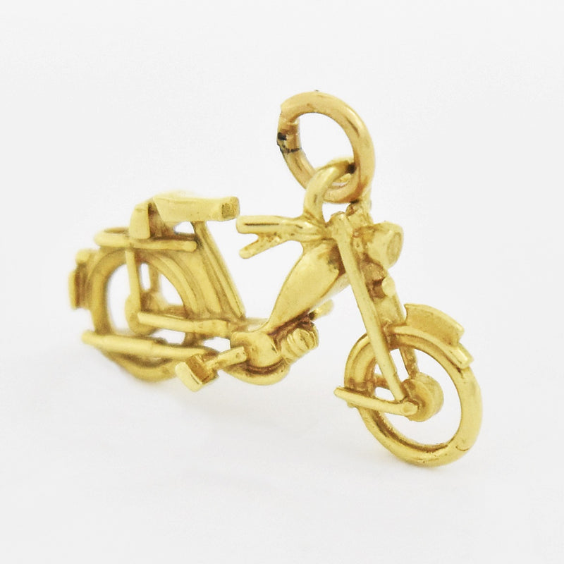 14k Yellow Gold Estate Style of Vintage Motorcycle Bike Pendant/Charm