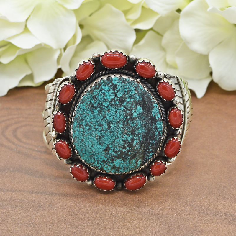 Sterling Silver Large Carved Turquoise & Carnelian Cuff Bracelet 98.8g