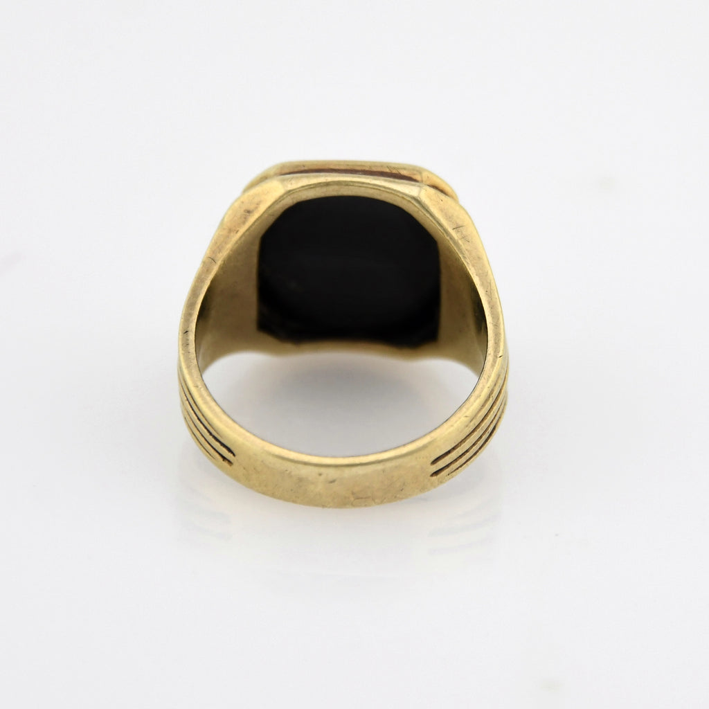 10k Yellow Gold Antique Incised Onyx BPDE Moose Lodge Ring Size 6.5
