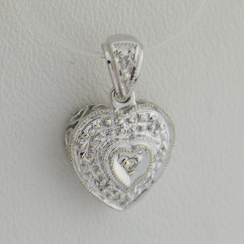 10k White Gold Estate Heart Shaped Diamond Multistone Pendant