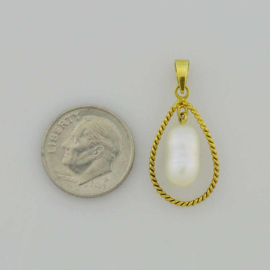 14k Yellow Gold Estate Dangle Pearl In Teardrop Shape Pendant