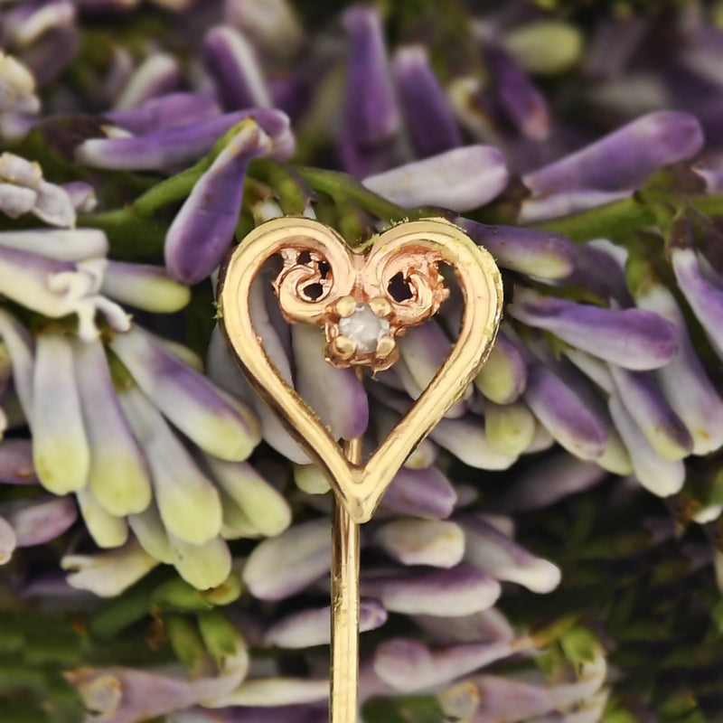 14k Yellow & Rose Gold Estate Diamond Heart Stick Pin