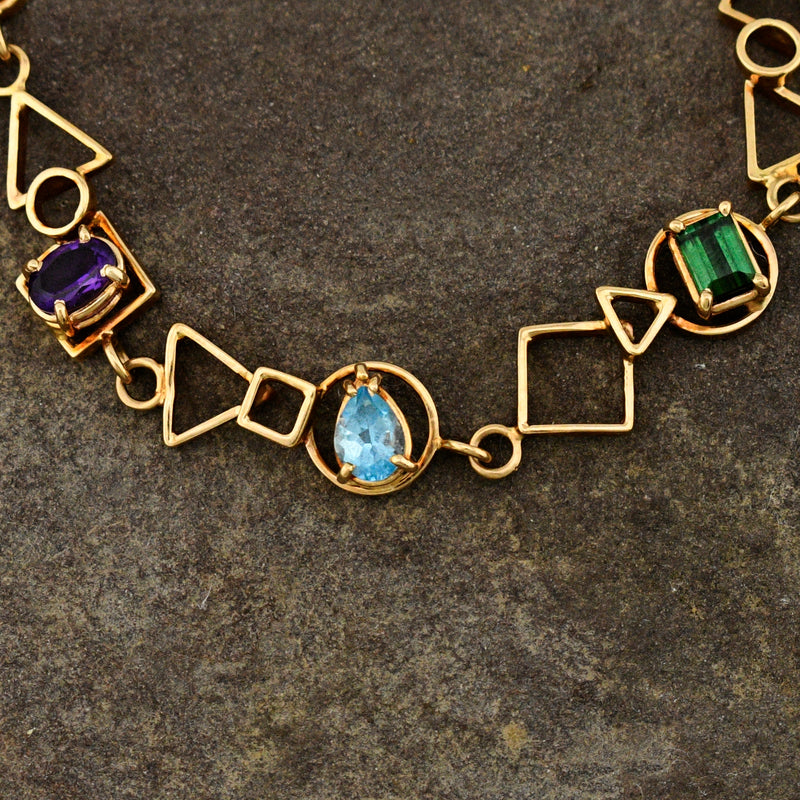 "14k Yellow Gold Geometric Link Multi Colored Gemstone Bracelet 7 1/4"" Long"