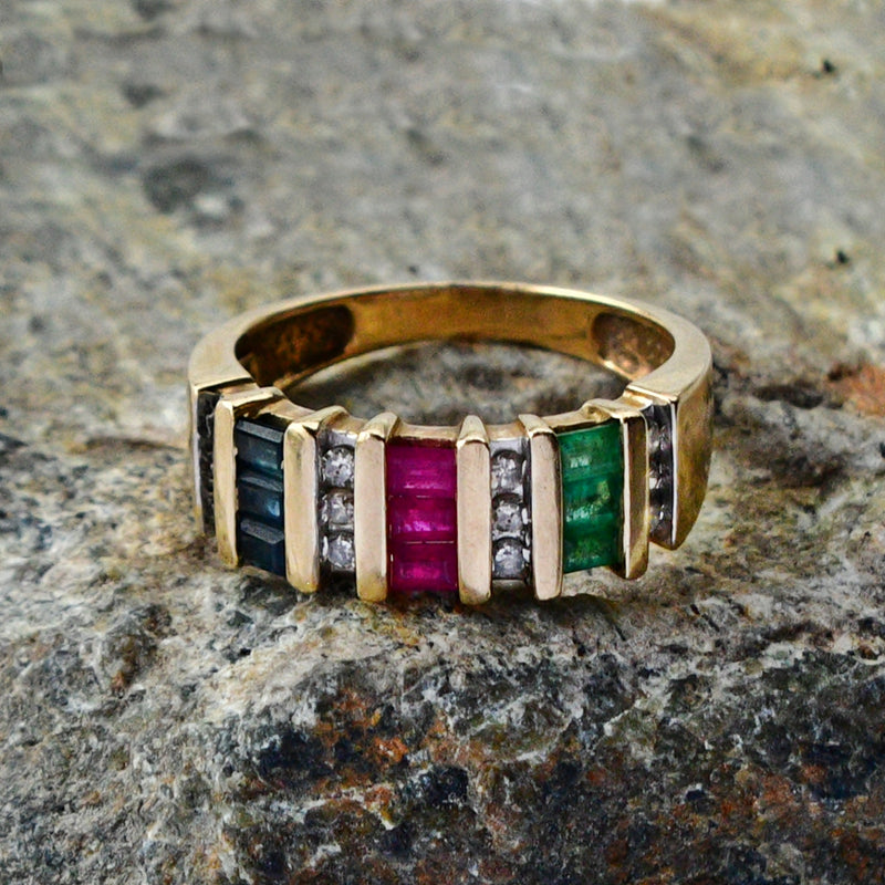 14k Yellow Gold Estate Emerald Ruby & Diamond Gem Band/Ring Size 6.75