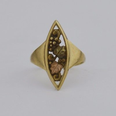 10k Tri/Multi Colored Gold Estate Leaf & Grape Design Ring Size 4.5