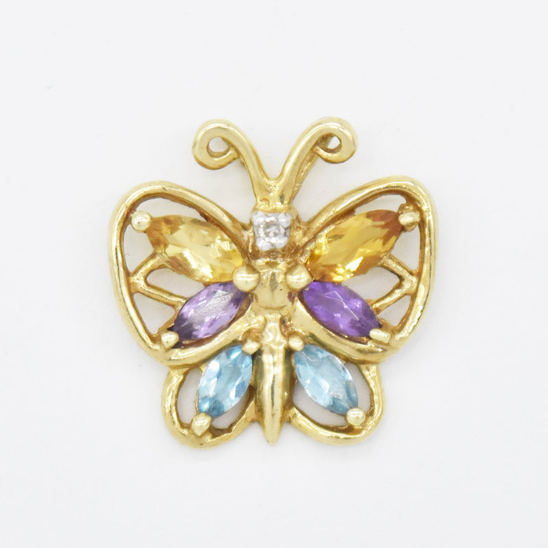 10k Yellow Gold Multi Colored Gemstone & Diamond Butterfly Pendant