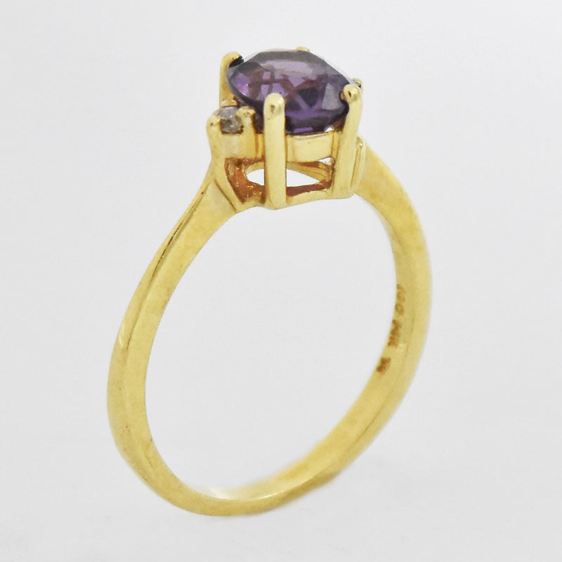 14k Yellow Gold Estate Amethyst & Diamond Ring Size 6.5