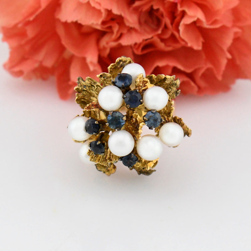 14k YG Mid Century Modern Pearl & Sapphire Cocktail Ring Size 7.75
