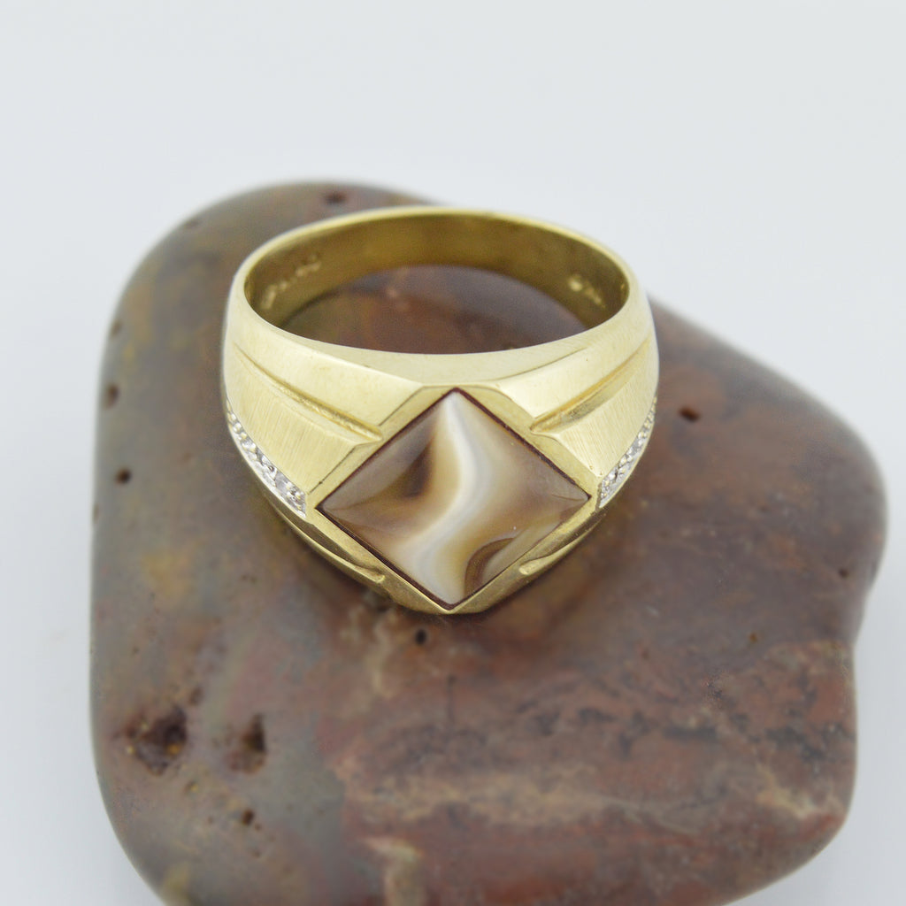 10k Yellow Gold White And Brown Banded Agate & Diamond Multistone Ring Size 10.5