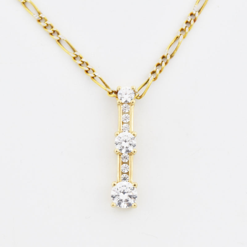 "14k Yellow Gold 22"" Figaro Chain With 3 CZ Stone Drop Pendant"