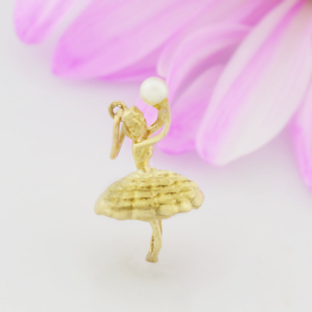 14k Yellow Gold Estate Ballerina Holding 3.1 mm Pearl Pendant