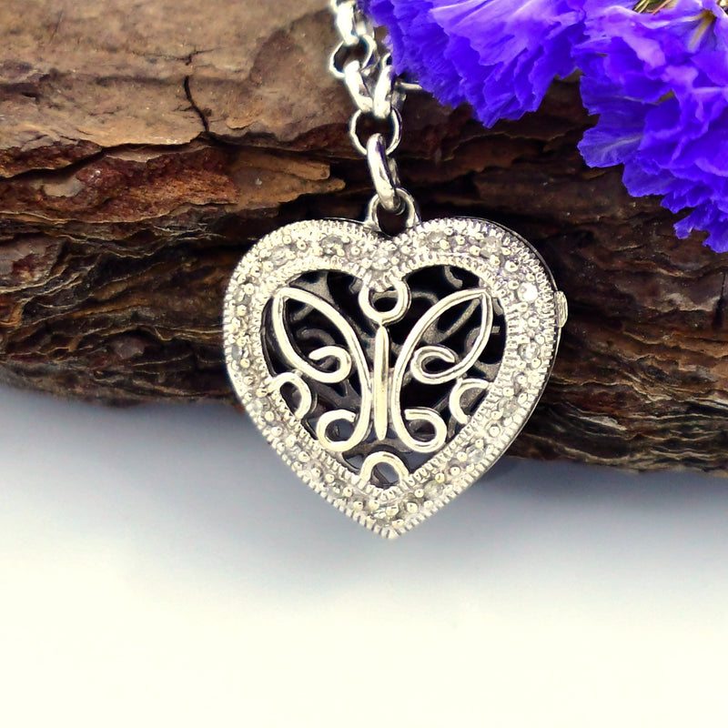 "10k White Gold Estate Filigree Diamond Heart Locket Bracelet 7"" Long"