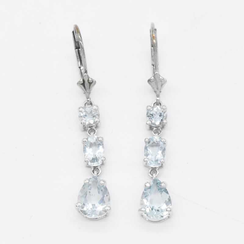 Sterling Silver 925 Aquamarine 3 Tier Leverback Earrings