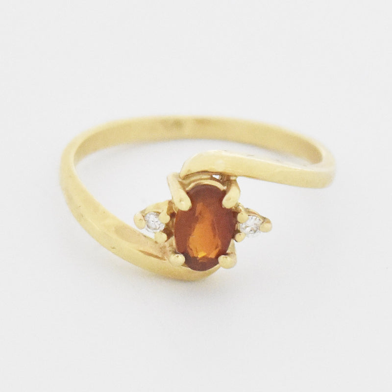 14k Yellow Gold Estate Citrine & Diamond Swirl Ring Size 6.5