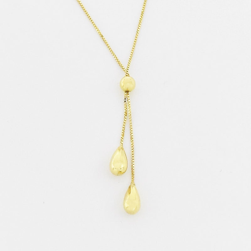 "14k Yellow Gold Estate 17"" Box Link Teardrop Dangle Necklace"