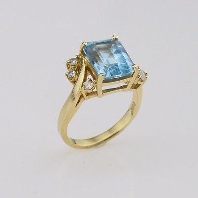 14k Yellow Gold Blue Topaz & Diamond Ring Size 6.5