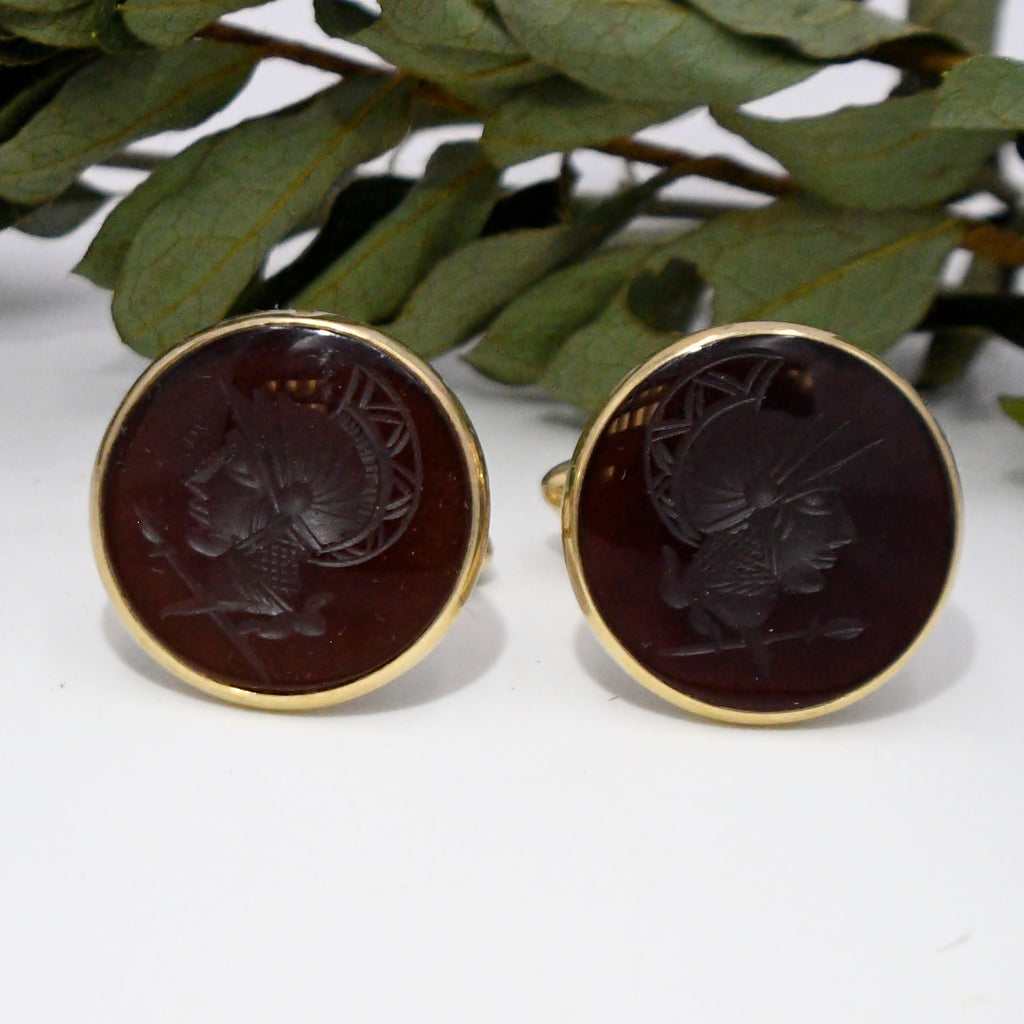 14k Yellow Gold Antique Intaglio Carnelian Cuff links