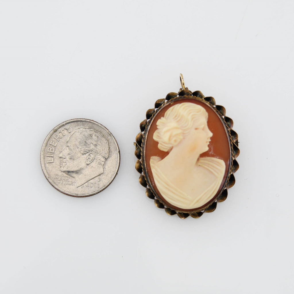 10k Yellow Gold Antique Cameo Pin/Pendant
