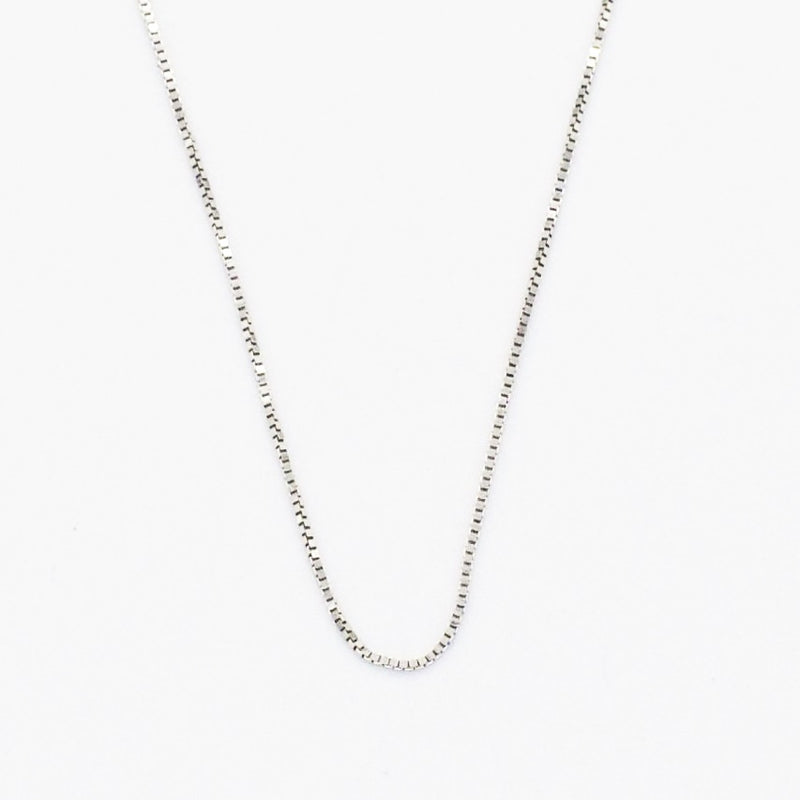 "14k White Gold Estate 24"" Box Link Chain/Necklace"
