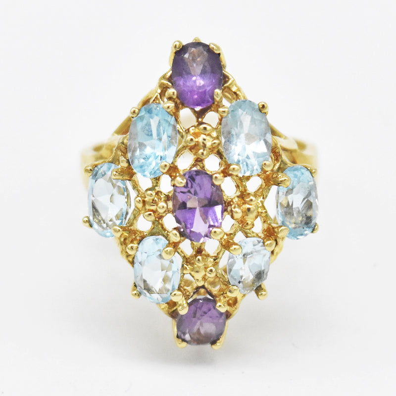 10k Yellow Gold Estate Amethyst & Blue Topaz Ring Size 8.5
