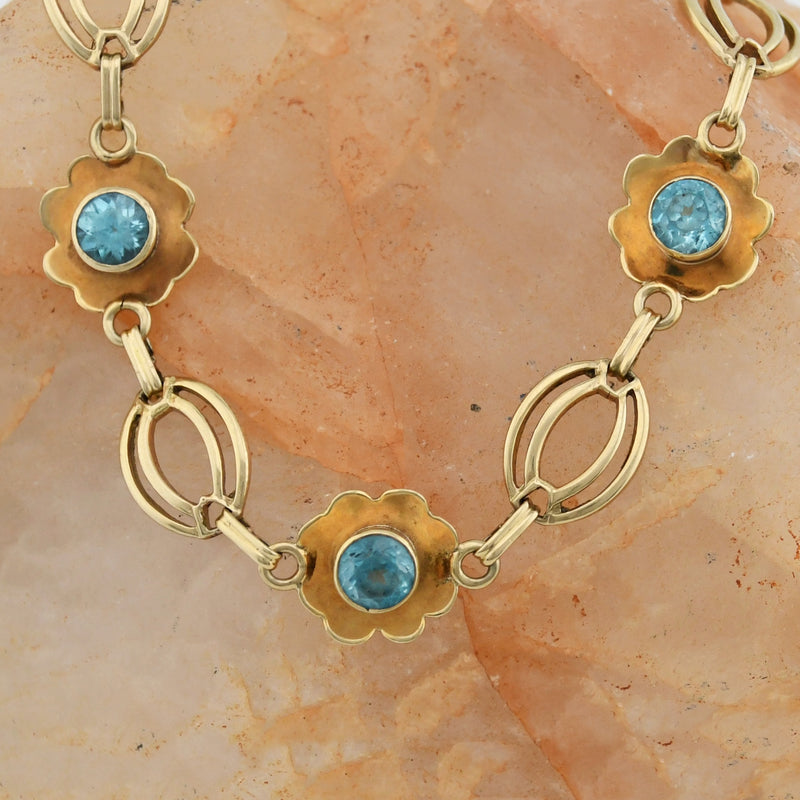 "14k Yellow Gold Estate Blue Topaz Oval Link Bracelet 7 1/2"" Long"