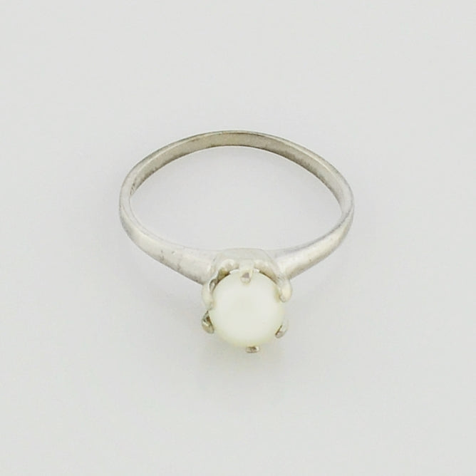 10k White Gold Estate Pearl Ring Size 6