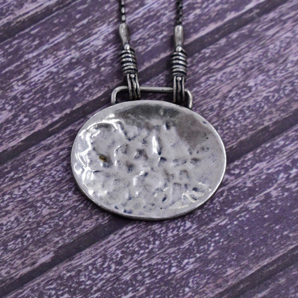 "Sterling Silver 925 SILPADA Hammered Oval Disc Necklace 16"" Long"