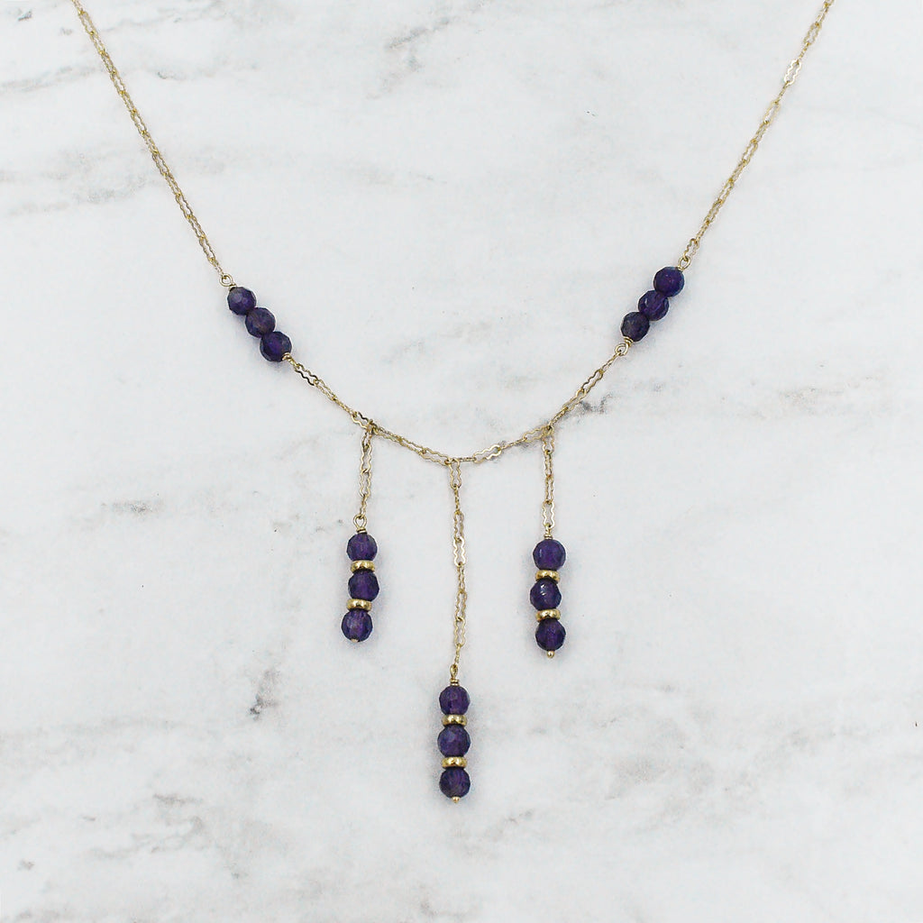"14k Yellow Gold Estate 16 1/4"" Drop/ Dangle Amethyst Necklace"