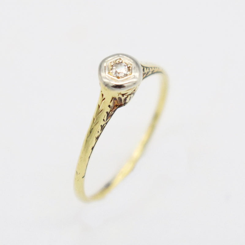14k Y & W Gold Etched Diamond 0.06 tcw Engagement Ring Size 6