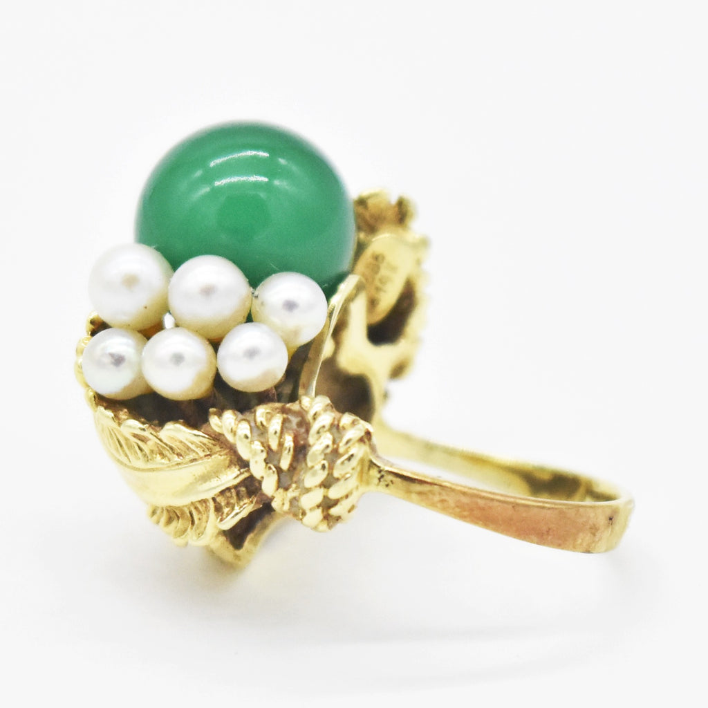 14k Yellow Gold Pearl & Green Gemstone Leaf Design Ring Size 4.75