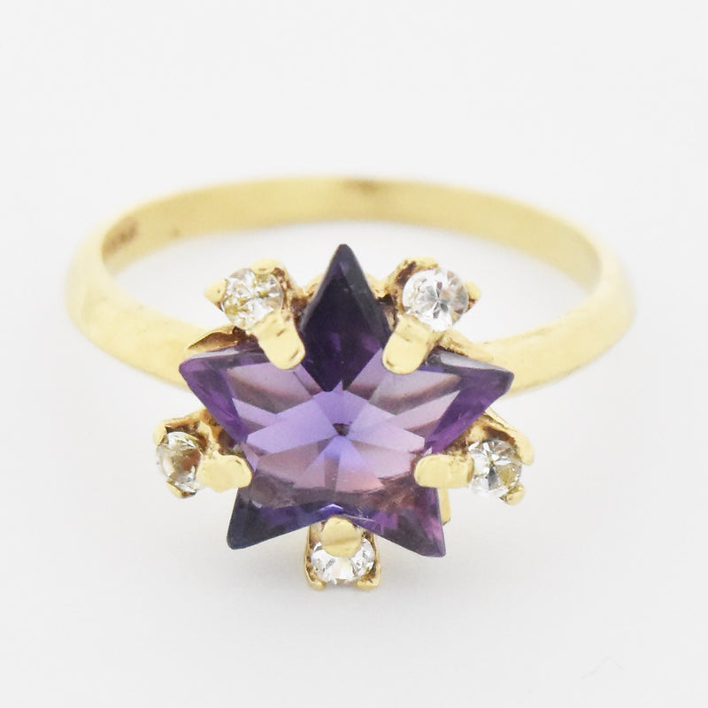 14k Yellow Gold Estate Star Shape Amethyst & White Topaz Ring 8.25