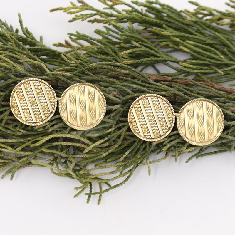 14k Yellow Gold Antique Textured Circle Cufflinks