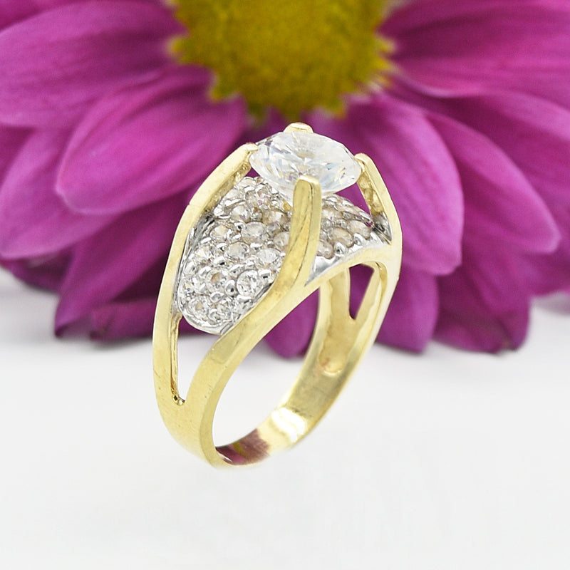 14k Yellow Gold Estate Tier CZ Cocktail Ring Size 7