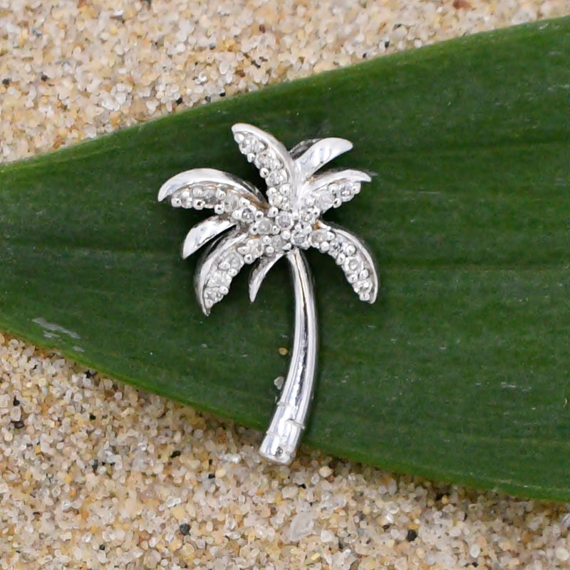 14k White Gold Estate Diamond Palm Tree Vacation Keepsake Pendant
