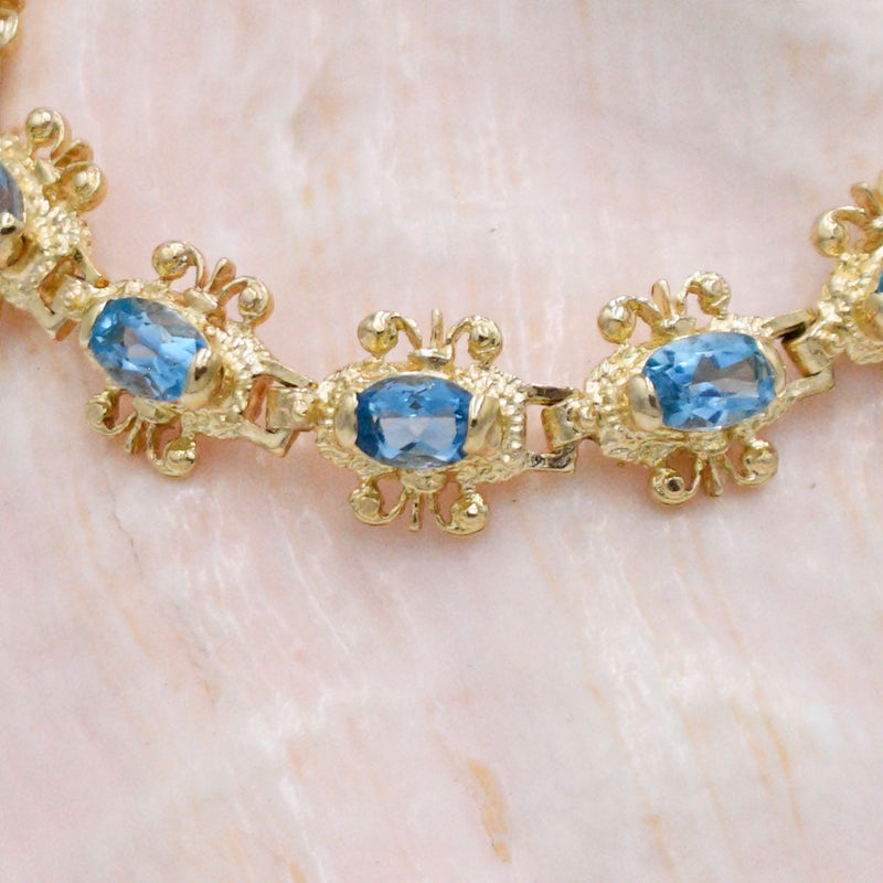 "14k Yellow Gold Estate Fancy Blue Topaz Gemstone Link Bracelet 7"" Long"