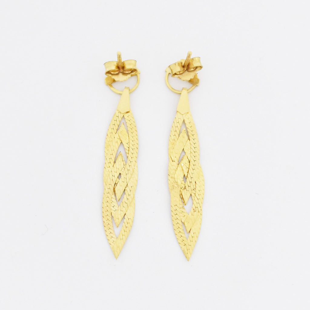 "14k Yellow Gold Estate 1.5"" Braided Drop/Dangle Post Earrings"
