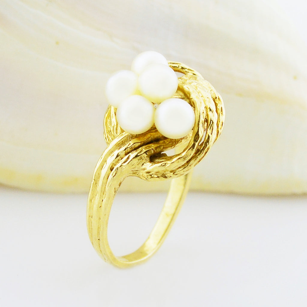 14k Yellow Gold Estate Love Knot Multi Pearl Ring Size 6.5