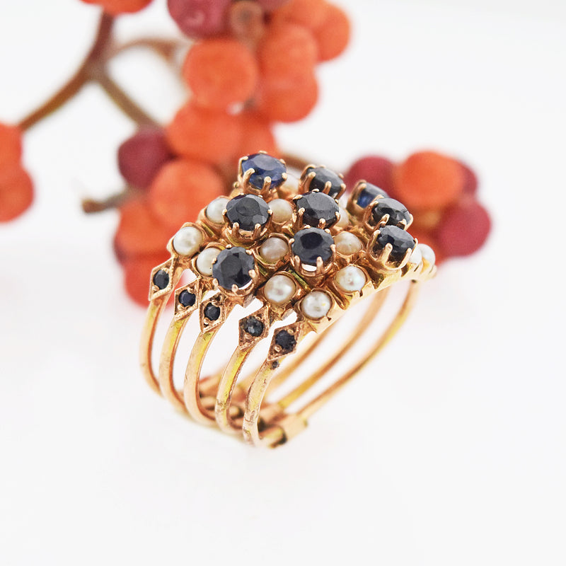 14k Yellow Gold Vintage Stacking Sapphire & Pearl Ring Size 7