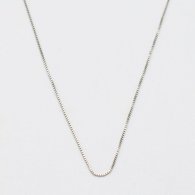 "10k White Gold Estate 16"" Box Link Chain/Necklace"