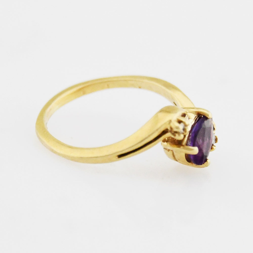 14k Yellow Gold Estate Swirl Amethyst & Diamond Ring Size 3.75
