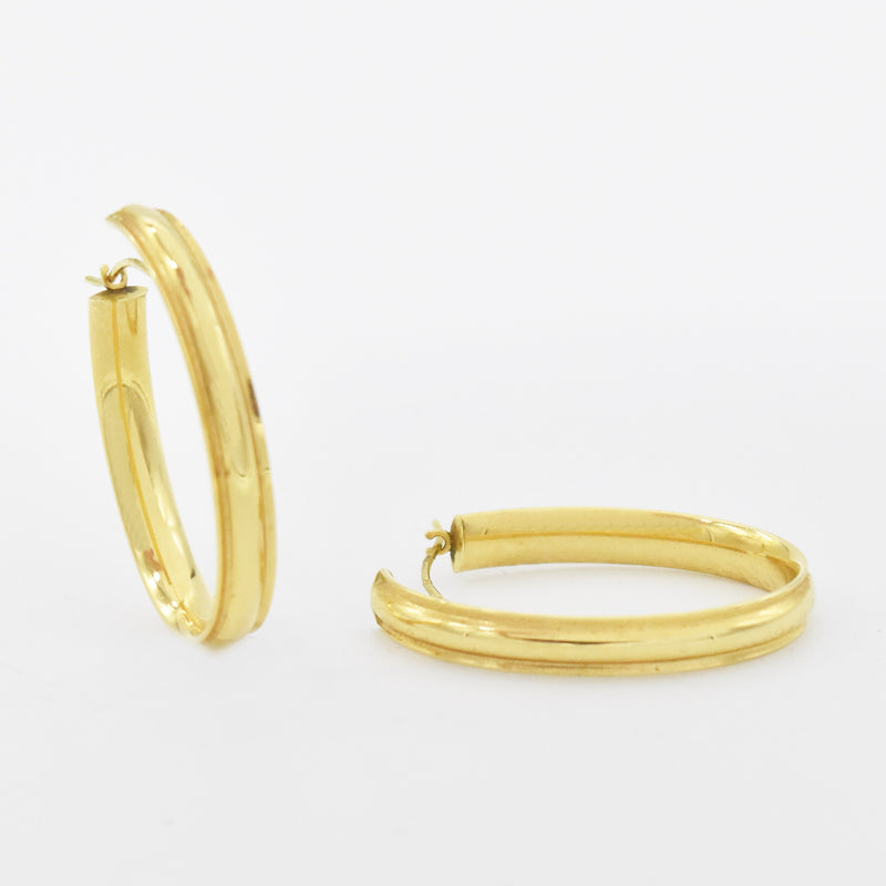 "18k Yellow Gold Estate 1.25"" Oval Hoop Earrings"