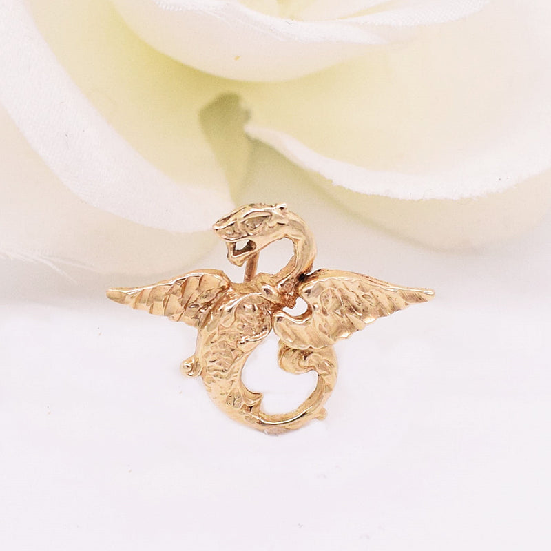 14k YG Carved Winged Dragon Pendant