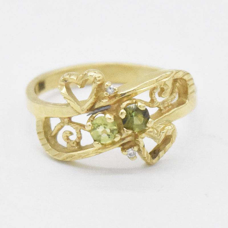 14k Yellow Gold Open Work Peridot & Diamond Ring Size 6.75