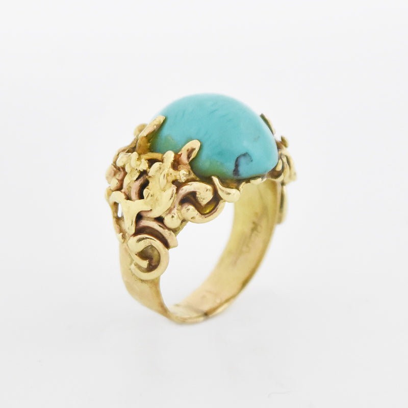 14k Yellow Gold Estate Ornate Oval Turquoise Ring Size 5.25