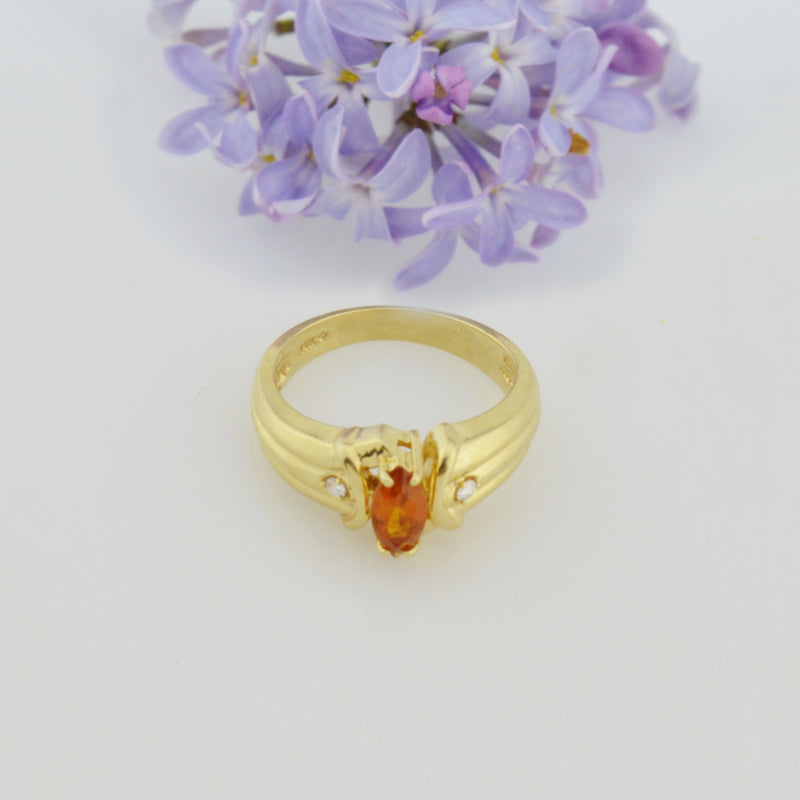 14k Yellow Gold Estate Citrine & Diamond Multistone Ring Size 7