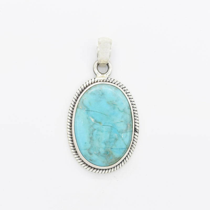 Sterling Silver 925 Estate Oval Turquoise Drop/Dangle Pendant
