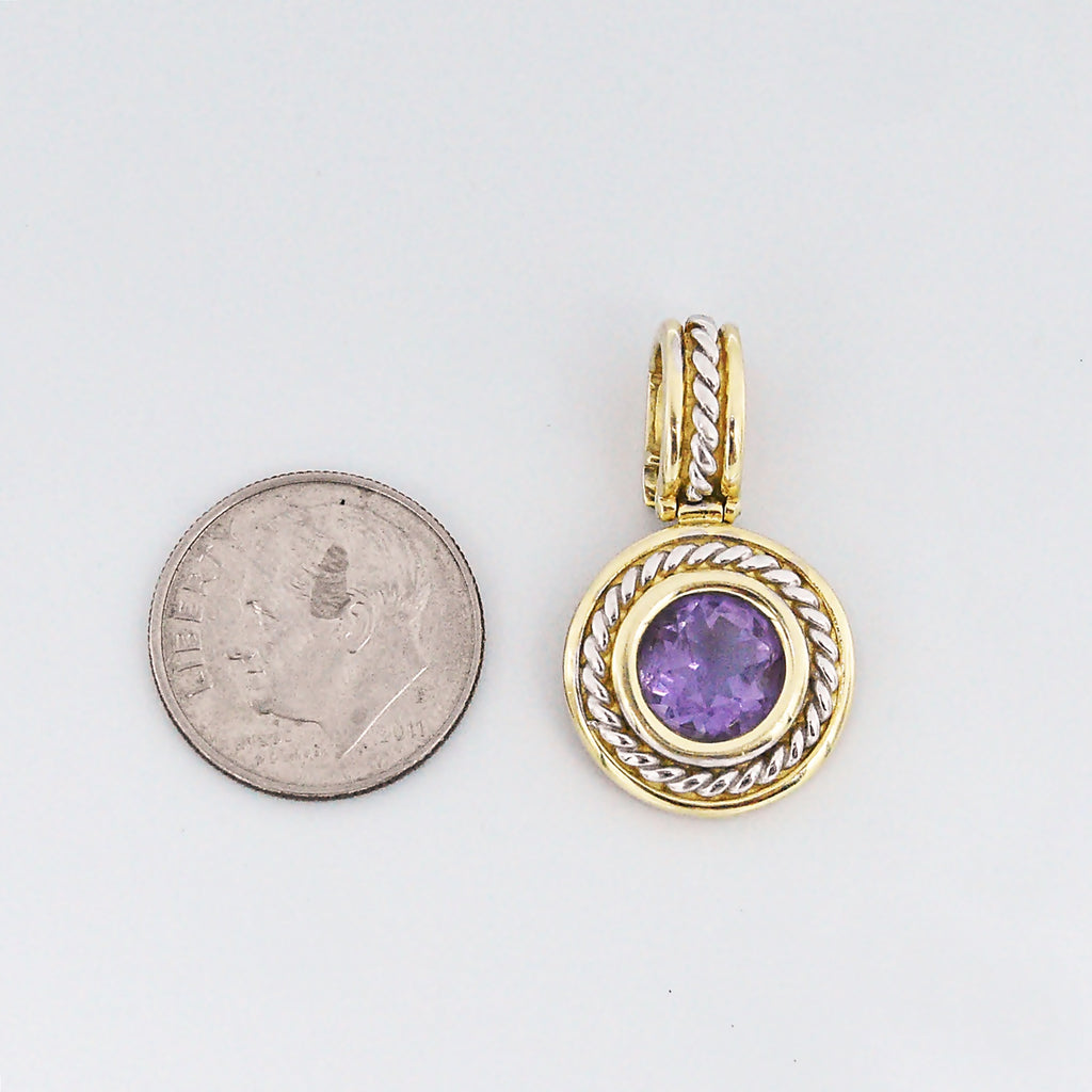 14k Yellow & White Gold Estate Circle Amethyst Pendant