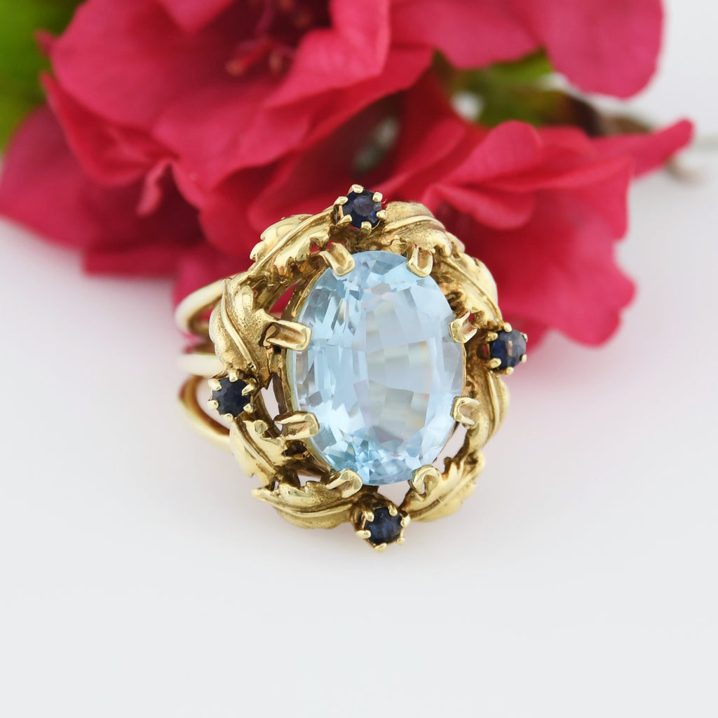 14k YG Ornate Open Band Light Blue Topaz & Sapphire Ring Size 5.75